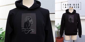 Sweat-shirt made in France en coton biologique certifié Gots et fabriqué avec éthique à Paris par PhilippeGaber, sweat-shirt homme et femme label fabriqué à Paris