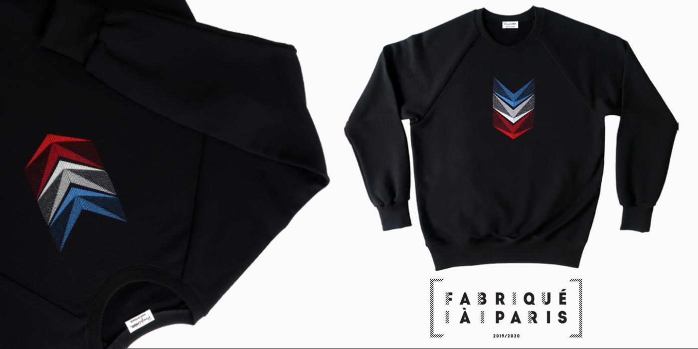 Ligne de sweat-shirt coton biologique de PhilippeGaber lauréat du  label fabriqué à Paris 2019 2020