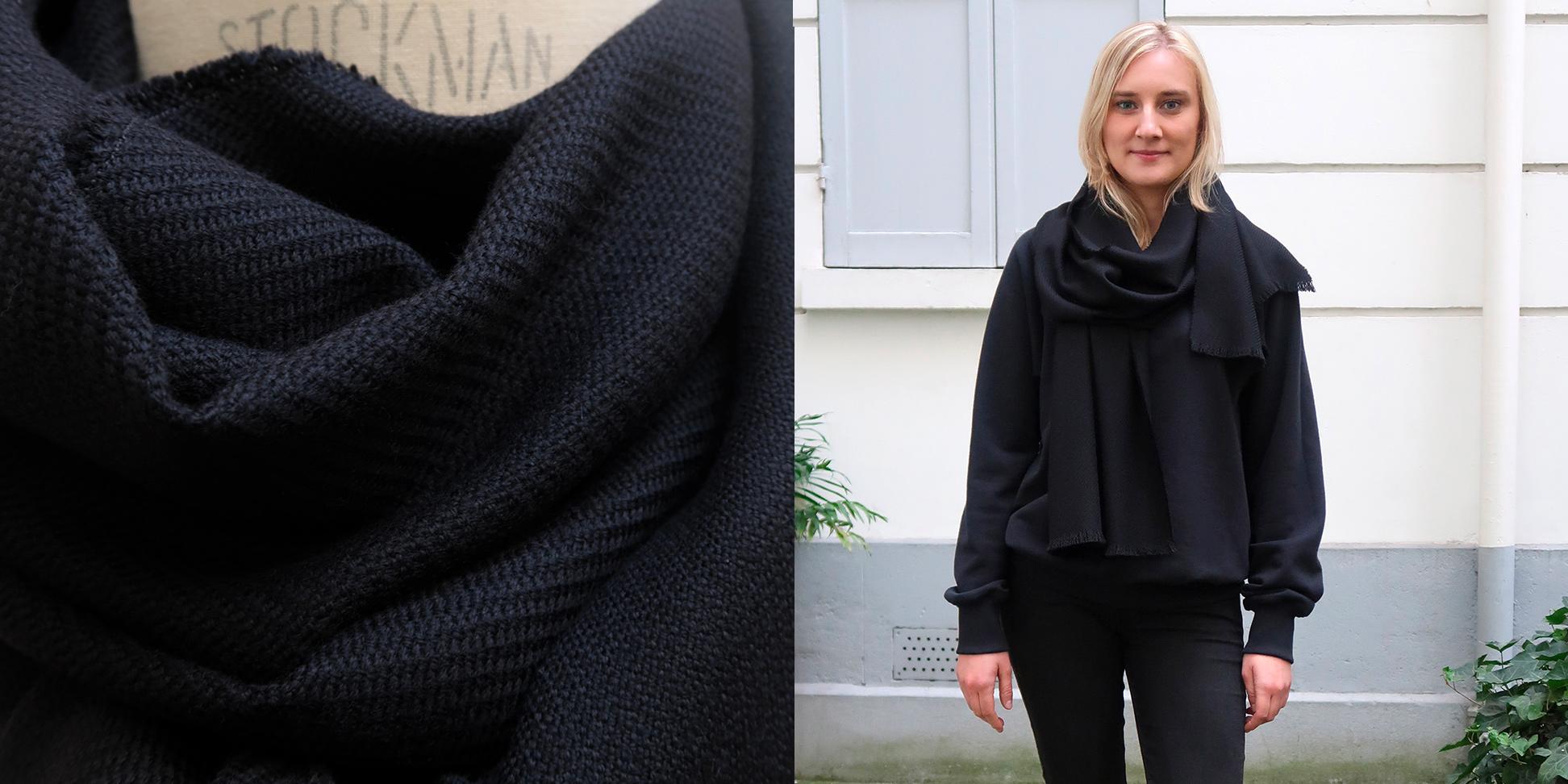echarpe luxe paris laine et cachemire noir philippegaber