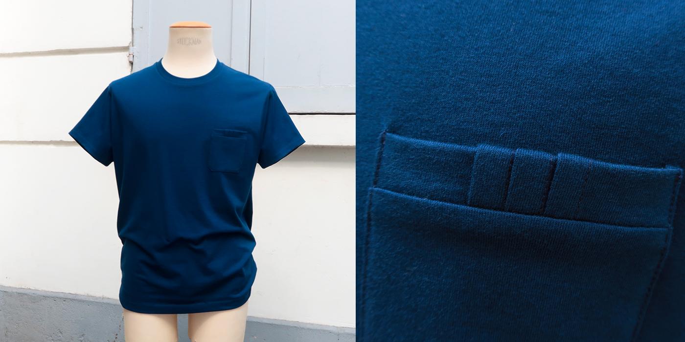 T-shirt Made in France coton bio  bleu marine pour l'homme et la femme, une mode éthique fabriqué à Paris par Philippe Gaber